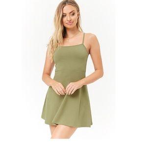 Olive Green Tank Skater Dress Sz S